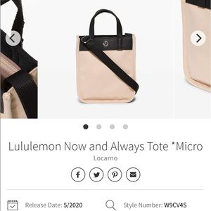 Lululemon now and always tote micro